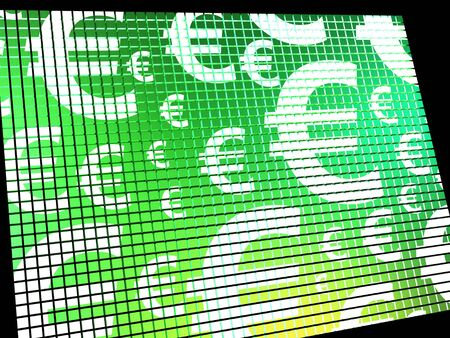 Euro Symbols On Computer Screen Showing Money And Investments Stock Photo - 13480437