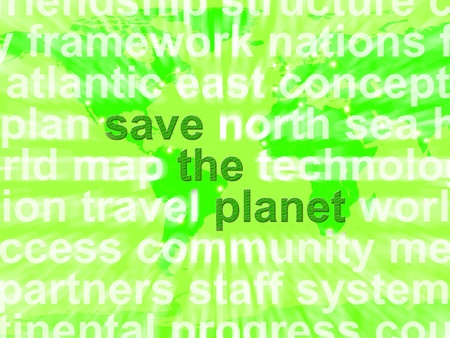 Save The Planet Words In Green Showing Recycling Or Eco Friendly photo