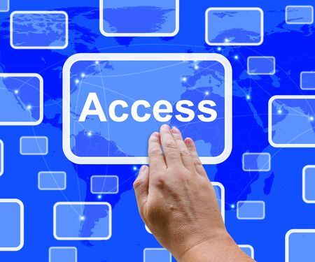 logon: Access Button Over Map Shows Permission And Security Stock Photo