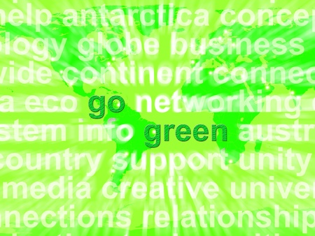 Go Green Words Showing Recycling And Eco Friendliness photo