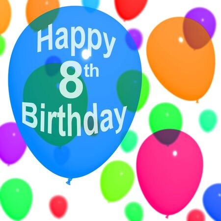 Multicolored Balloons For Celebrating An 8th or Eighth Birthdays Stock Photo - 13482144