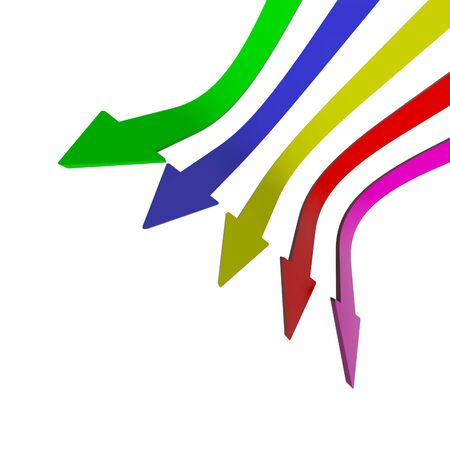 failures: Multicolored Arrows Pointing Down With Blank Copyspace Background Showing Fall Or Failures