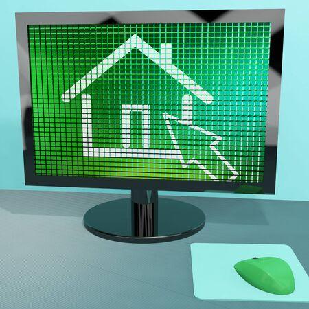 rentals: Home Symbol On Computer Screen Shows Real Estate Or Rentals