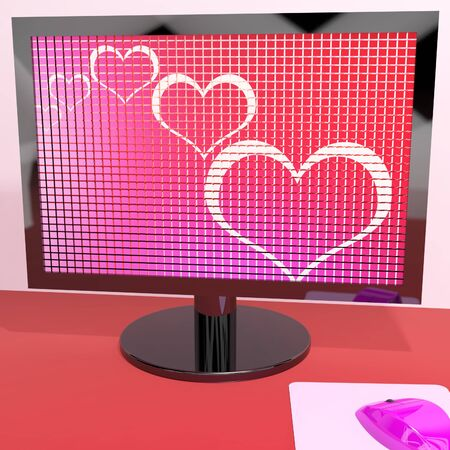 Hearts On Computer Screen Show Love And Online Dating Stock Photo - 13480564