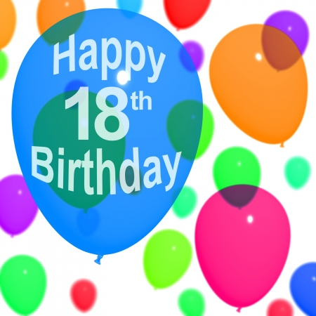 18th: Multicolored Balloons For Celebrating An 18th or Eighteenth Birthdays Stock Photo