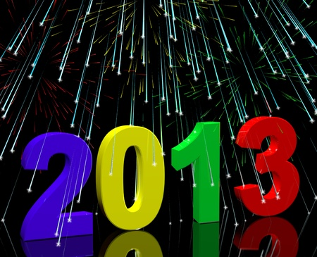 2013 With Fireworks Represents Year Two Thousand And Thirteen photo