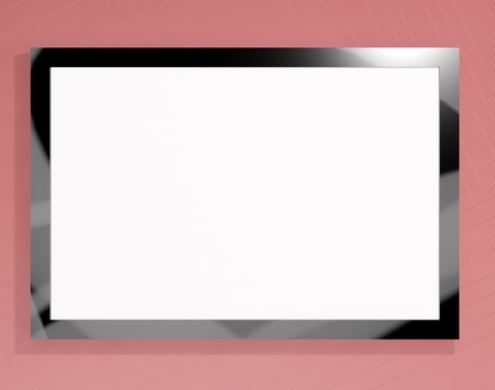 wideview: TV Monitor Having White Blank Copyspace Or Copy Space Stock Photo