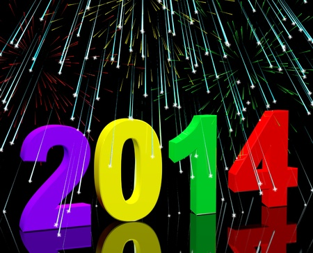 two thousand and fourteen: 2014 Numbers With Fireworks Represents Year Two Thousand And Fourteen
