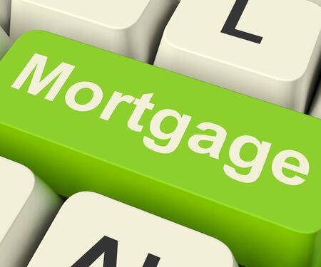 Mortgage Computer Key Shows Online Credit Or Borrowing Stock Photo - 13481413