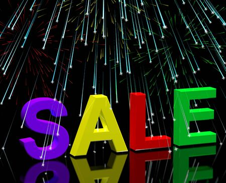 sellout: Sale Word And Fireworks Showing Promotion Discount And Price Reductions