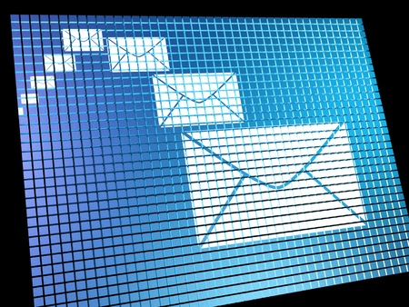 contacting: Email Envelopes Being Received On Computer Screen Shows Emailing Or Contacting Stock Photo