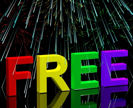 freebie: Free Word And Fireworks Showing Freebie and Promotion Stock Photo