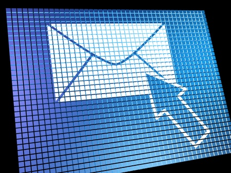 email contact: Email Icon Being Selected On Screen Shows Emailing Or Contacting Stock Photo