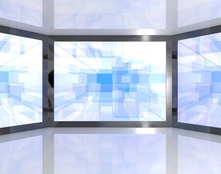 wideview: Big Blue TV Monitors Wall Mounted Representing High Definition Televisions Or HDTV