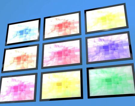 wideview: Nine TV Monitors Wall Mounted In Different Colors Representing High Definition Televisions Or HDTV