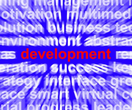 advancement: Development Word Showing Improvement Advancement And Growth