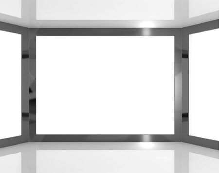 Big TV Monitors Having White Blank Copyspace Or Copy Space Stock Photo - 13482181