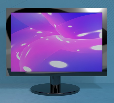 high definition television: TV Monitor On Stand Representing High Definition Television Or HDTVs