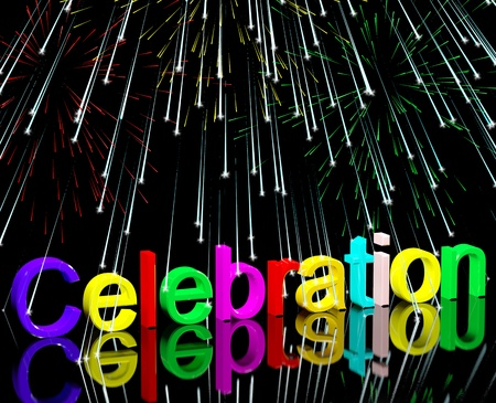 independance: Word Celebration With Fireworks As New Years Or Independance Stock Photo