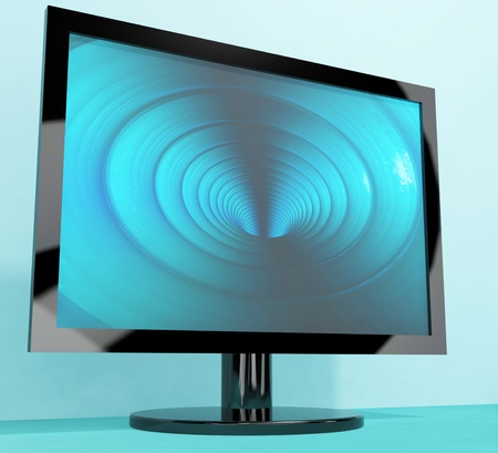 high definition television: TV Monitor With Blue Vortex Picture Representing High Definition Television Or HDTVs Stock Photo