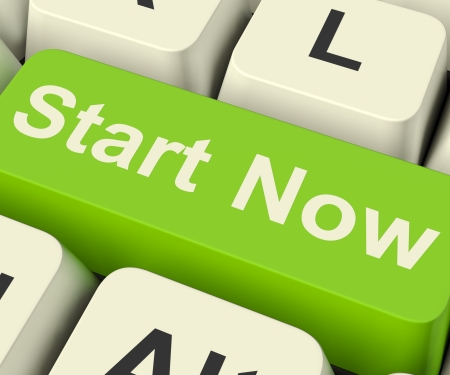 commence: Start Now Key Meaning To Commence Immediately With Internet Stock Photo