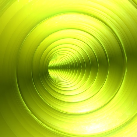 twirling: Green Vortex Abstract Metallic Background With Twirling Twisting Spiral
