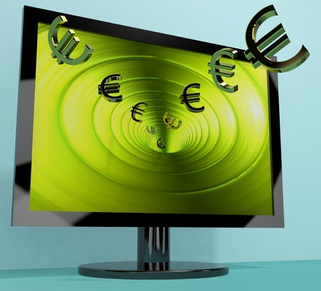 Euro Symbols From Computer Screen Showing Money Investments And Winnings Stock Photo - 13480727