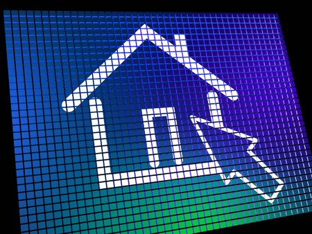 Home Symbol On Computer Monitor Showing Real Estate Or Rental photo