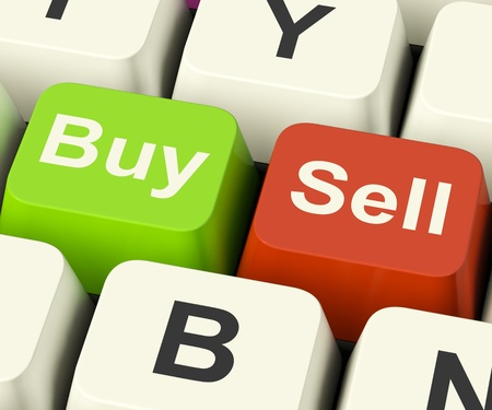 retailing: Buy And Sell Keys Represents Business Trade Or Stocks Online