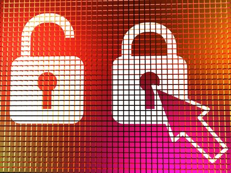 Padlock Icon On Computer Monitor Shows Safety Security And Protected Stock Photo - 13480379