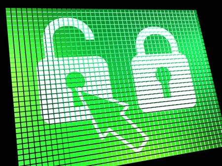 Unlocked Padlock Computer Screen Shows Access Or Protection Online Stock Photo - 13480428