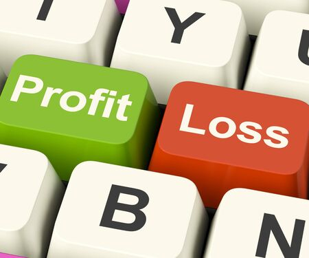 Profit Or Loss Keys Showing Returns For Internet Businesses Stock Photo - 13481303