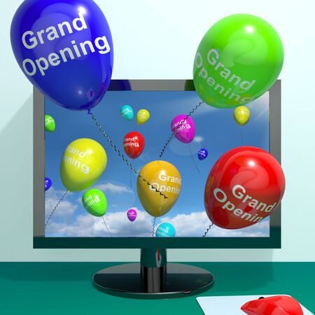 beginning: Grand Opening Balloons From Computer Shows New Online Store Launch