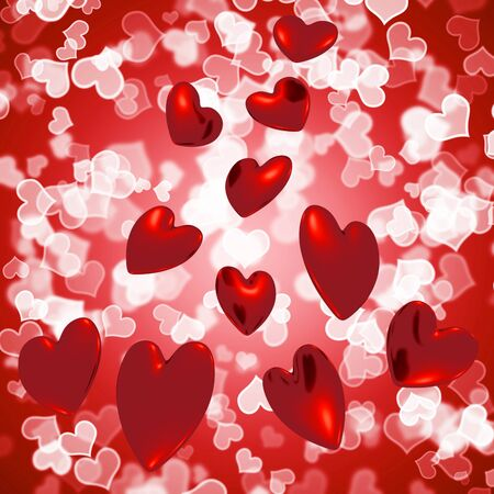 Hearts Falling With Bokeh Background Shows Love And Romance Stock Photo - 13480705