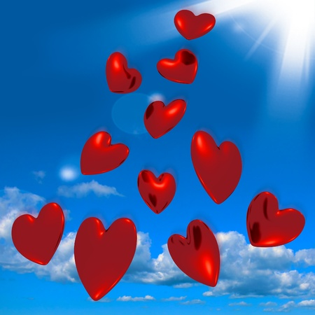 Metallic Red Hearts Falling From The Sky Shows Love And Romance photo