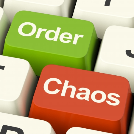 disorganized: Order Or Chaos Keys Shows Either Organized Or Unorganized Stock Photo