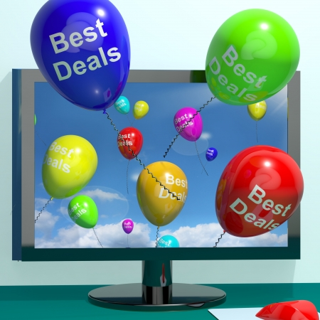 discounted: Best Deals Balloons From Computer Representing Bargains And Discounts Online