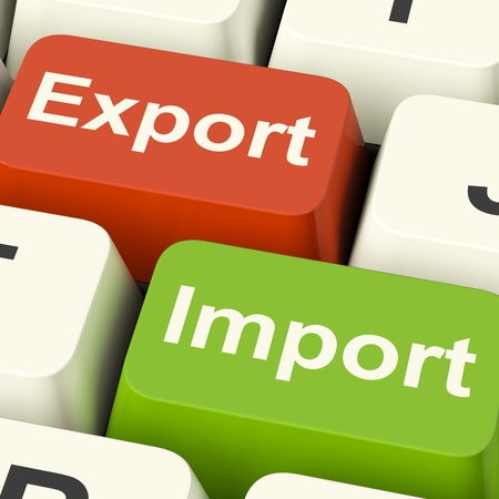 import and export business: Export And Import Keys Shows International Trade Or Global Commerce Stock Photo