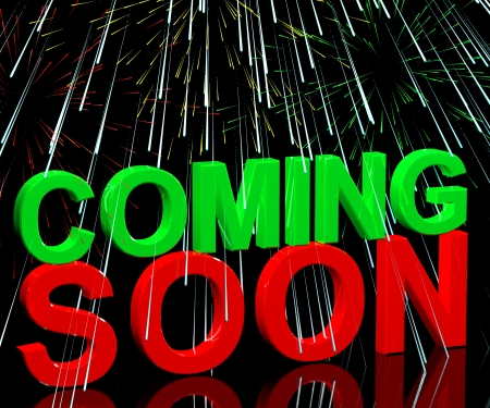 Coming Soon Words With Fireworks Shows New Product Arrival Announcement photo