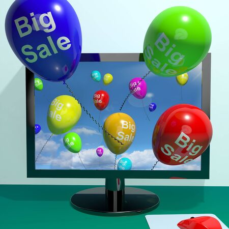 rebate: Sale Balloons Coming From Computer Shows Promotion Discount And Reductions Online