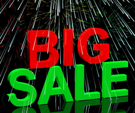 closeout: Big Sale Word And Fireworks Shows Promotion Discount And Reductions
