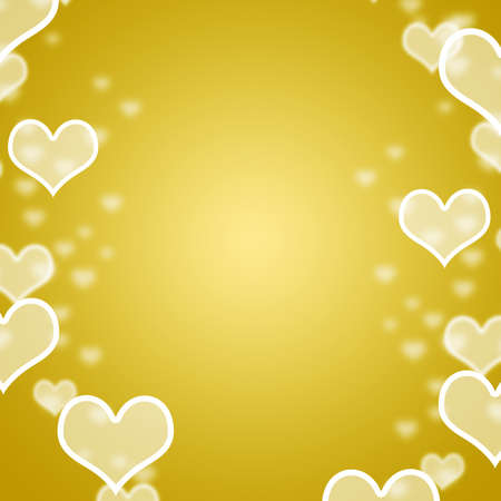 Yellow Hearts Bokeh Background With Blank Copy Space Showing Love Romance And Valentines photo