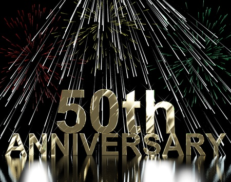 Gold 50th Anniversary With Fireworks For Celebration Or Parties Stock Photo - 13480493