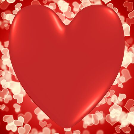 Heart With Red Hearts Bokeh Background Shows Valentines And Loving photo