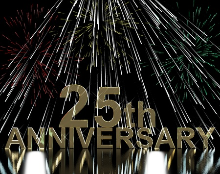 Gold 25th Anniversity With Fireworks For Celebration