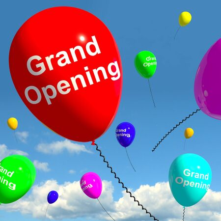 Grand Opening Balloons Shows New Store Launch Stock Photo - 13481304