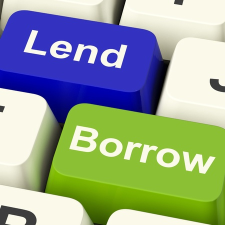 Lend And Borrow Keys Shows Borrowing Or Lending On The Internet Stock Photo - 13482091