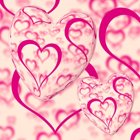 Pink Hearts Design On A Heart Background Shows Love Romance And Romantic Feelings Stock Photo - 13480699
