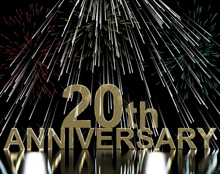 Gold 20th Anniversary With Fireworks For Celebration Or Parties