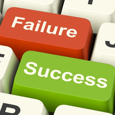 Success And Failure Computer Keys Shows Succeeding Or Failing Online photo